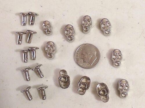 """9mm post 1083 10 SILVER SKULLS Metal Rivet Studs 1//2/"""" x 5//16/"""" Leather Crafts"""