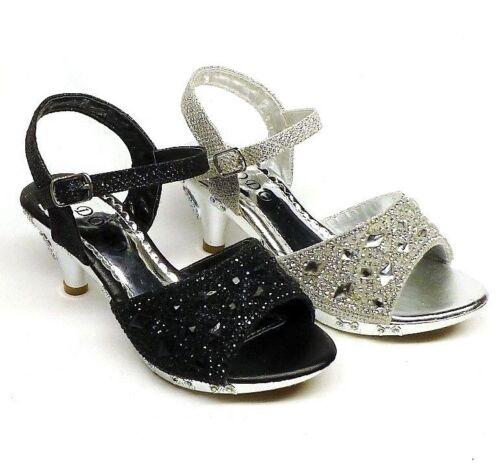 12 13 Girls/' Fashion Ankle Strap Dress Shoes size 10 1 11 3 4  SILVER