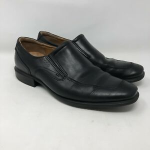 0104004f17 Details about ECCO 42 Leather Dress Shoes Mens Black Slip On Apron Toe  Loafer Career