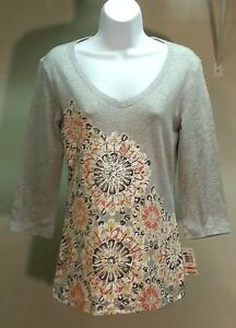 NWT-Style-amp-co-Multi-Color-Floral-100-Cotton-3-4-Sleeve-V-Neck-Top-Blouse-Sz-S