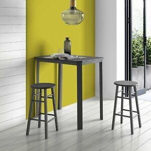 Detalles de Pack mesa alta cocina comedor gris negra 2 taburetes bar pata  metalica moderno