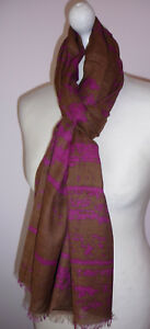 Brown-Pink-Cotton-Blend-Long-Scarf-Abstract-Print-Wide-Fairtrade-New-Fairtrade