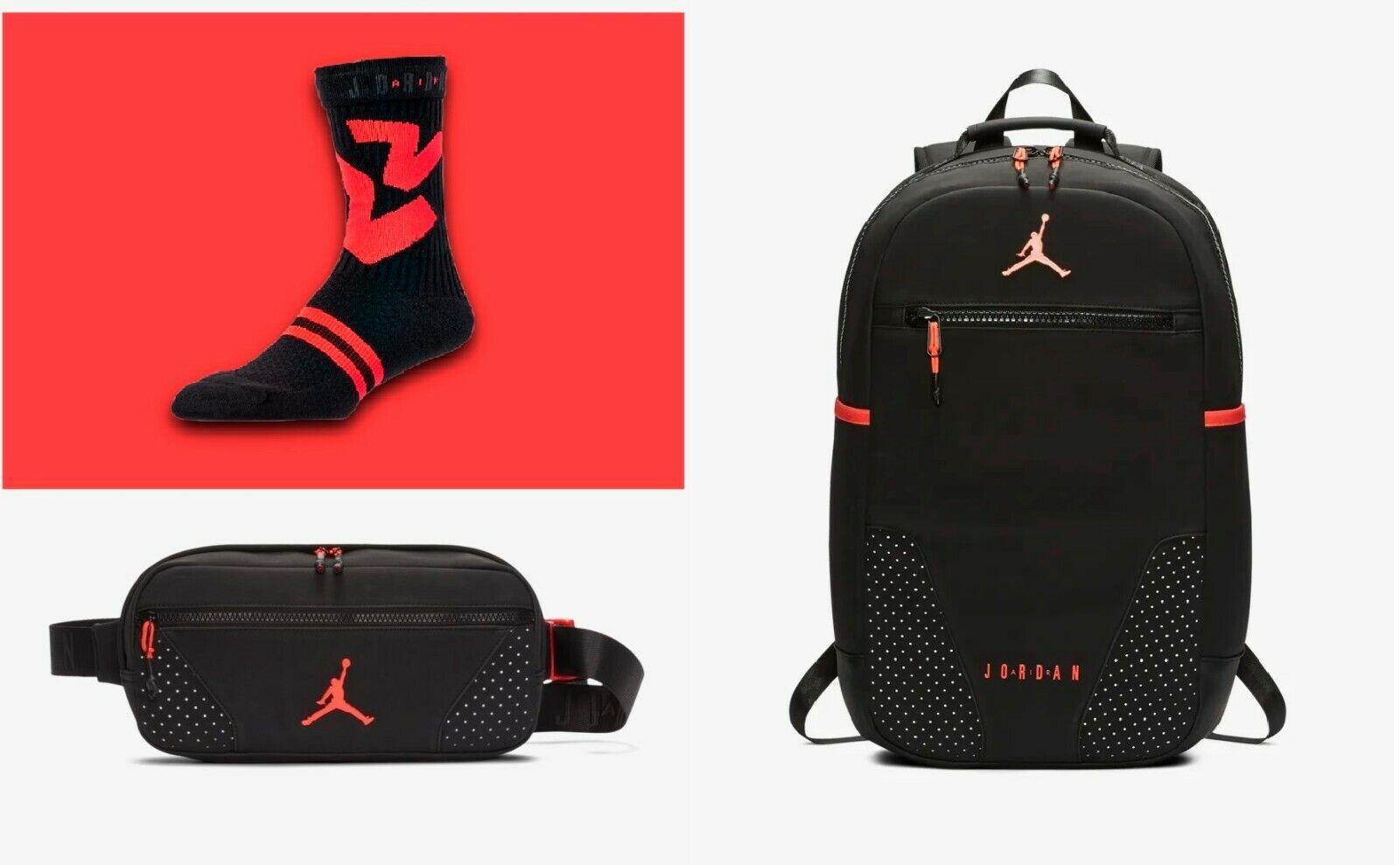 Nike Jordan 6 retro IV infrarouge Noir Unisexe Croix corps sac à dos chaussettes US 8  12