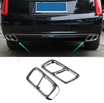 Rear Tip Pipe End Exhaust Muffler Cover Trim Steel 2pcs For Cadillac XTS 2018