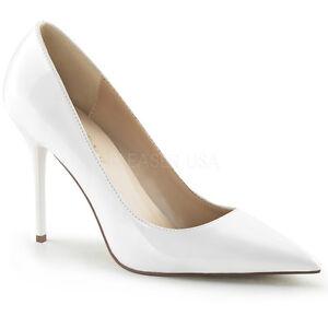 White Classic 20 Patent Toe Ladies Classique Shoes Pleaser Pointed Court qRCUP