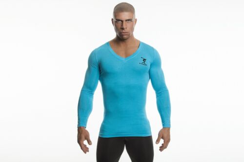 Mens Work Out Eco-friendly GreenTurquoise Demig bamboo long sleeve shirt Vneck