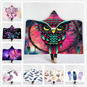 New Colorful Owl Feather Hooded Blanket 3D full print Wearable Blanket
