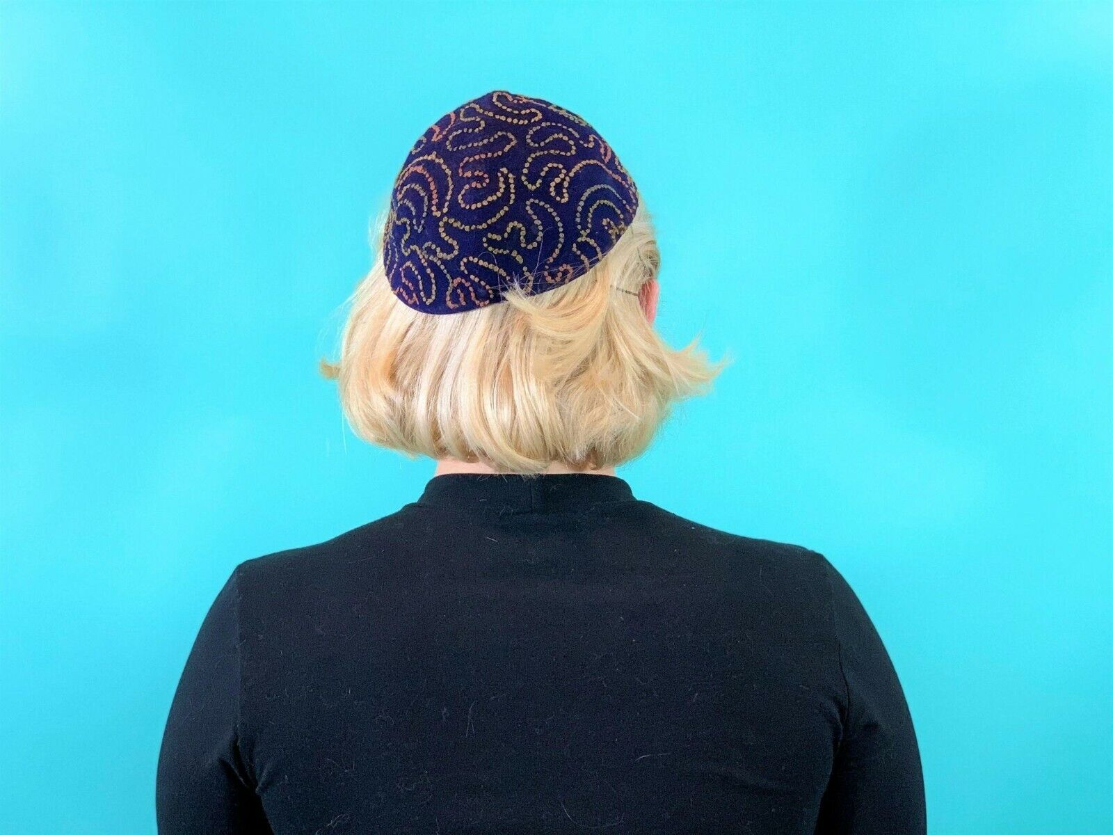 Vintage 1940s Swirl Hat Purple Colorful Stitched … - image 5