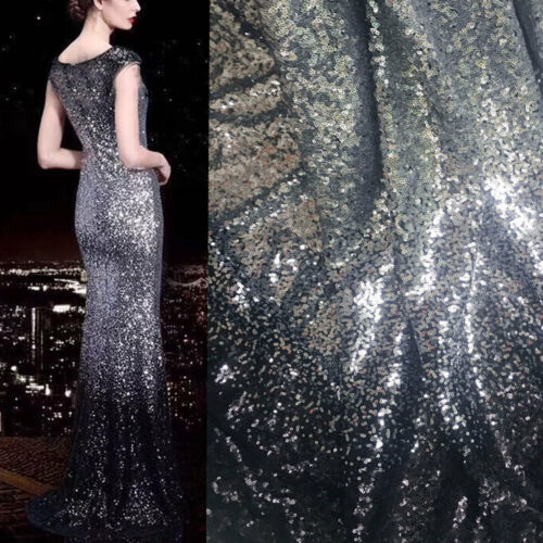 Stunning Bling Bridal Dress Gown Fabric Beaded Wedding Costume DIY Tulle 0.5 M
