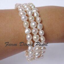 "Genuine Multi strand 3 row White Pearl Bracelet 7.5"" Cultured Freshwater"