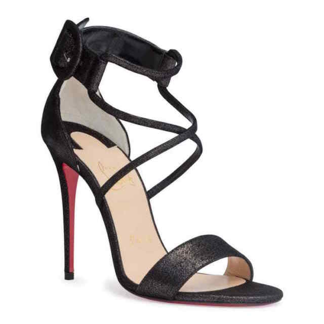 detailed look 9090e 2a5cd Christian Louboutin Choca 100 Black CrissCross Ankle Strap Sandal Heel Pump  36.5