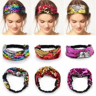 Fashion Women Elastic Turban Metallic Sequin Head Wrap Headband Hair Band Party