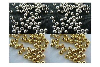 Fashion Silver/Gold Plated Round Spacer Smooth Loose Beads Charms Findings