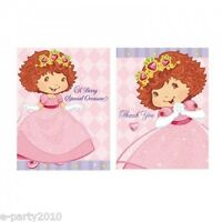 Strawberry Shortcake Princess Invites & Thank Yous (8) Birthday Party Supplies
