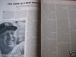 1961-Mickey-Mantle-Article-amp-Pic-8-5-x-10-5-034-New-York-Yankees-2-pge-Original