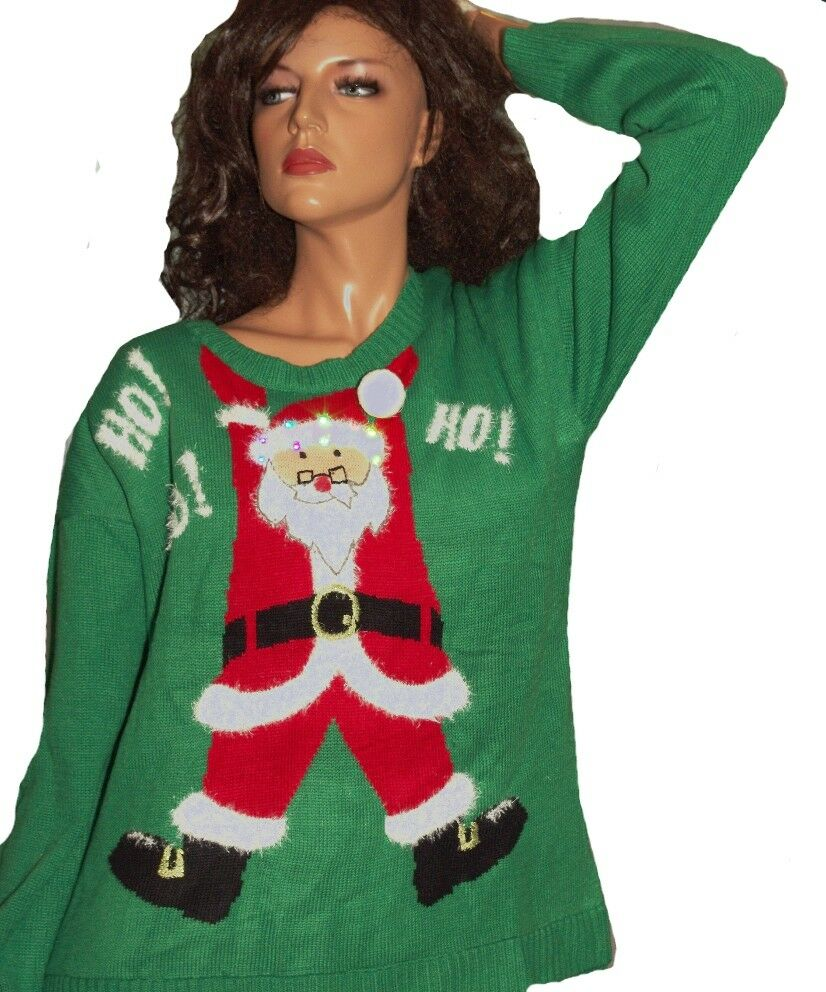 SANTA CLAUS Womens Funny LIGHT UP UGLY Christmas Sweater Party HO HO M Lg XL NEW