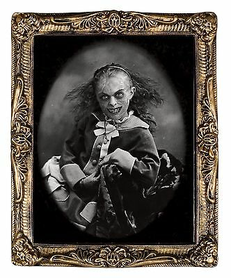 XLG Haunted Creepy MONSTER GIRL LENTICULAR PICTURE PORTRAIT Halloween Decoration