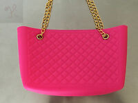 Women Dark Pink Jelly Frosted Candy Silicone Shoulder Purse Handbag Bag