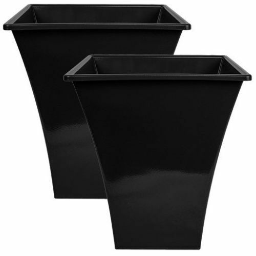 224 & 2 x Large BLACK Plastic Plant Pots Indoor Outdoor Garden Flower Tall Planter Pot