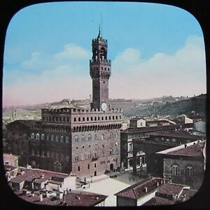 COLOUR-Glass-Magic-Lantern-Slide-FLORENCE-PALAZZO-VECCHIO-C1890-OLD-PHOTO-ITALY