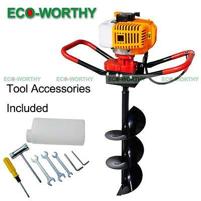 """2.2HP Gas Powered Post Hole Digger W/ 8"""" Earth Auger Drill Bit 52CC Power Engine"""