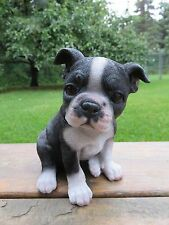 BOSTON TERRIER PUPPY STATUE FIGURINE CANINE HOME DECOR RESIN PET SITTING