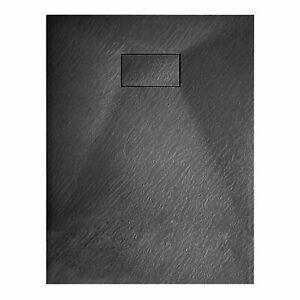 Piatto Doccia Spessore 2.6 Cm In Resina SMC Effetto Pietra Stone Ardesia Antiscivolo Riducibile Indistruttibile Filopavimento Arredo Bagno Con Griglia Di Copertura Colore Bianco 80 x 140 cm