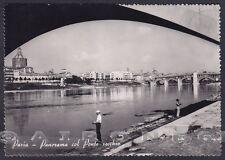PAVIA CITTÀ 35 PONTE Fiume TICINO - PESCATORI Cartolina FOTOGRAFICA viagg. 1951