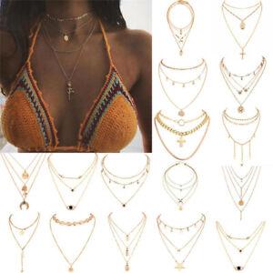 Vintage-Women-Gold-Silver-Multilayer-Long-Chain-Pendant-Choker-Satement-Necklace