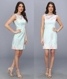 Elie Tahari Soft Sky Blue Watercolor Pastel Garden Party