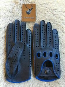 4479aa8613e08 Image is loading Men-039-s-Driving-Leather-Gloves-Black-Blue-