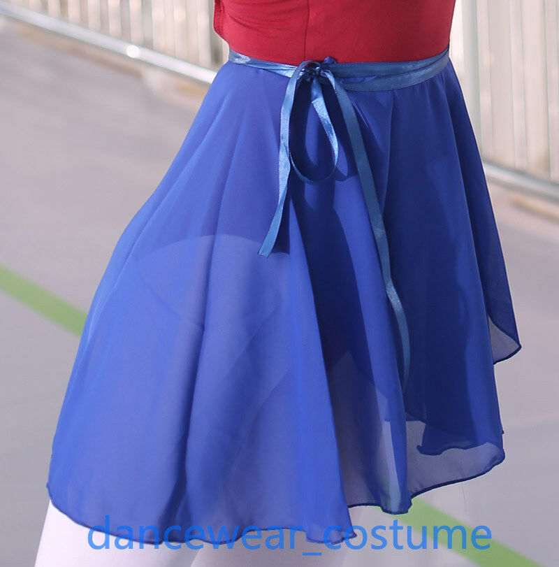 New Ladies Girls Chiffon Ballet Leotard Tutu Dance Wrap over Scarf Skirt Dress