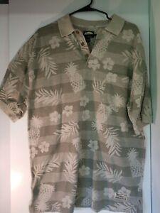 Tommy-Bahama-Original-Mens-Polo-Shirt-Pineapple-Floral-Print-100-cotton-Medium