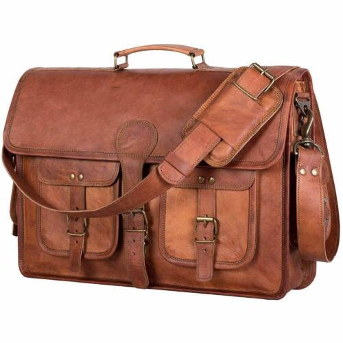 Men Genuine Vintage Brown Leather Messenger Bag Shoulder Laptop Briefcase Office