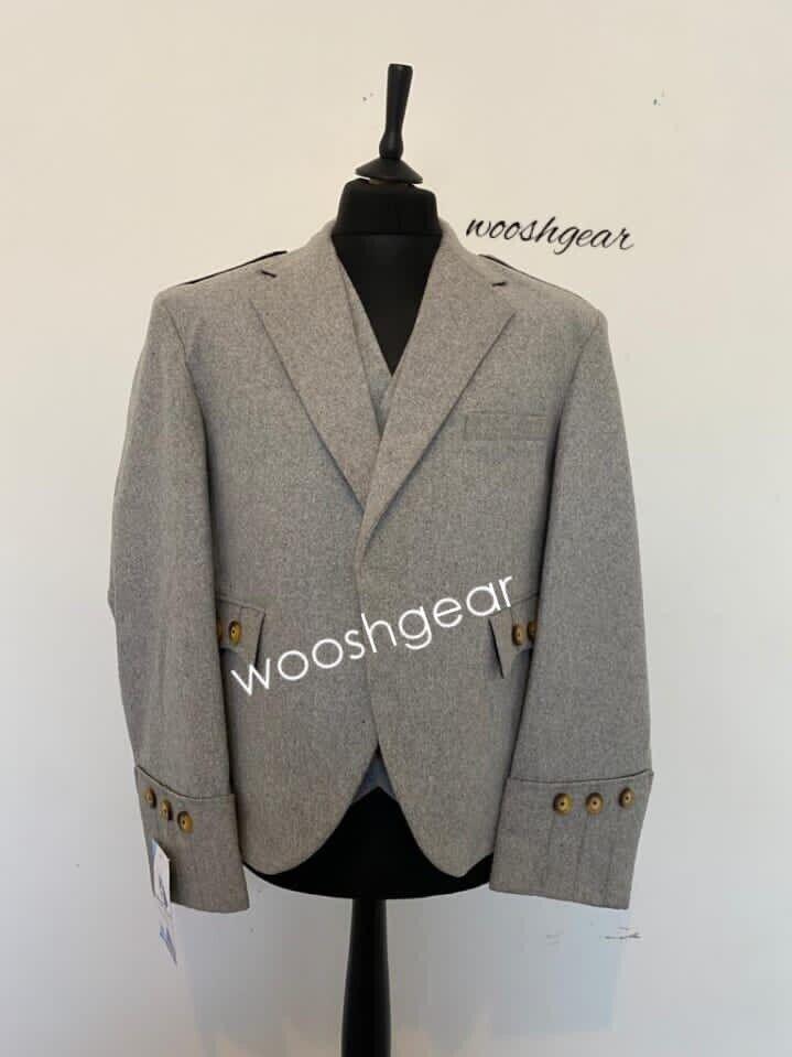 gents Grey 100% Wool Blazer Argyle jacket and Waistcoat UK 44 Available In Bulk