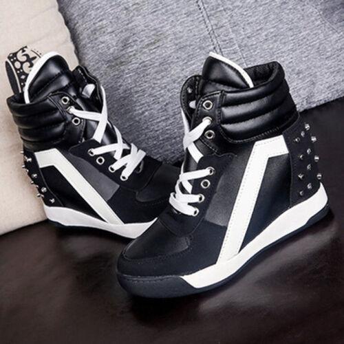 Fashion Women/'s Lace Up Sneakers Comfort Rivet Hidden Wedge Heel High Top Shoes