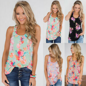 UK-Womens-Tee-Vest-Ladies-Summer-Holiday-T-Shirt-Cami-Blouse-Floral-Casual-Tops