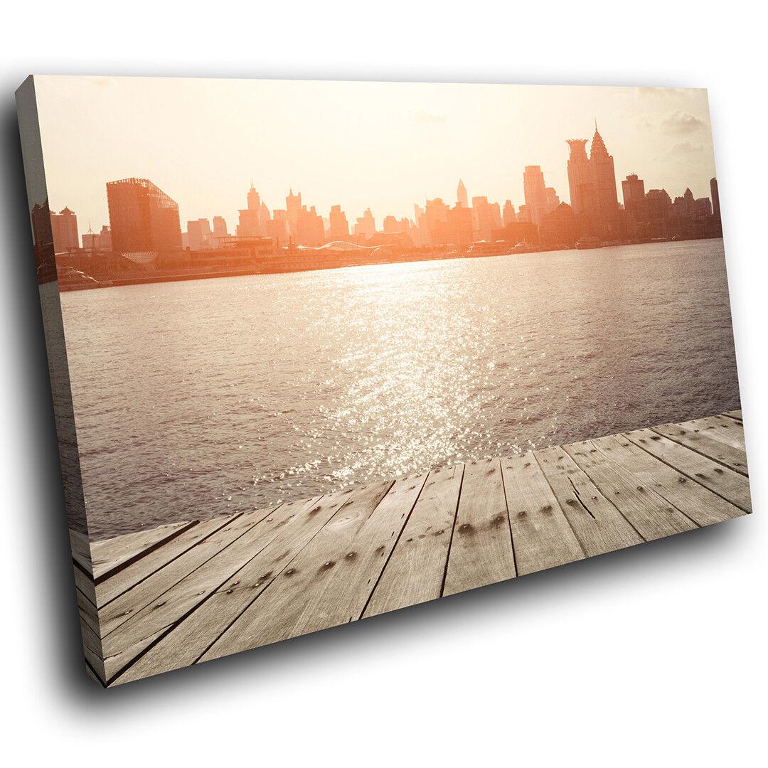 SC322 Retro City Sunrise Pier Landscape Canvas Wall Art Large Picture Prints