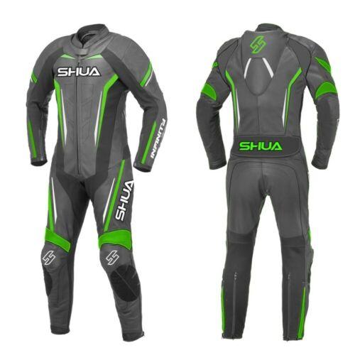 Shua Infinity Monos de moto de cuero de 1 Pieza para la Racing Motos Negro//Verde
