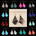 18K Gold Plated Quartz Agate Turquoise Gemstone Drop Dangle Hook Earring Jewelry