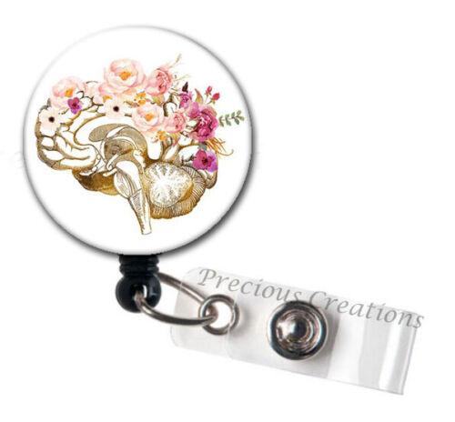Floral Brain ID Badge Reel Holder Clip Holder Retractable Nurse Cute RN