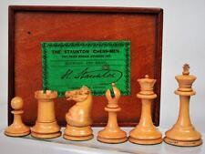 ANTIQUE CHESS SET JAQUES LONDON  EBONY 1860-65 KING 73 mm +ORIG BOX NO BOARD