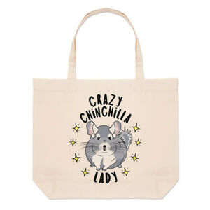 Crazy-Chinchilla-Lady-Stars-Large-Beach-Tote-Bag-Funny-Animal-Shoulder
