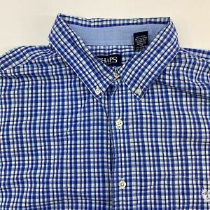 Chaps-Button-Up-Shirt-Mens-2XL-Blue-White-Navy-Short-Sleeve-Check-Chest-Pocket