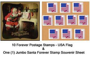 10-USA-Forever-Flag-Stamps-Self-Stick-Postage-and-Santa-Souvenir-Sheet-TRACKING