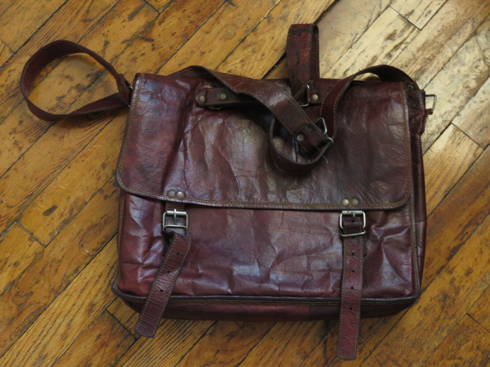 Brown Leather Messenger Bag Handmade Goat Leather