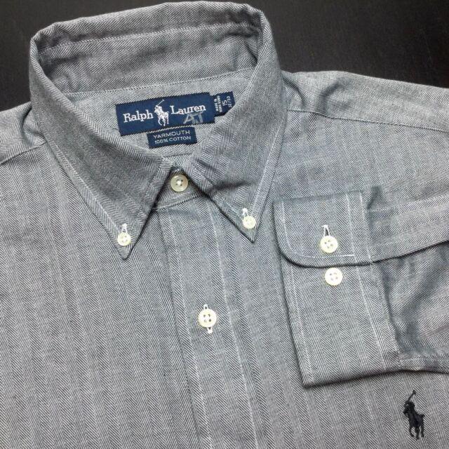 NEW - RALPH LAUREN Mens 15 32/33 Gray Herringbone Long Sleeve Button-Down Shirt
