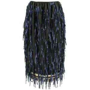 Dries-Van-Noten-Black-Midnight-Navy-Blue-Silver-Tasseled-Pencil-Skirt-FR38-UK10