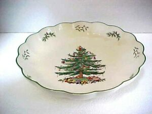"""SPODE Christmas Tree Scalloped Large 12"""" Serving Bowl S3324-Y 22 England   eBay"""