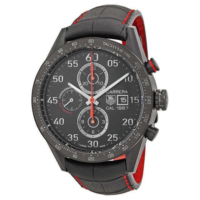 Tag Heuer Carrera 1887 Chronograph Automatic Black Dial Black Leather Mems Watch